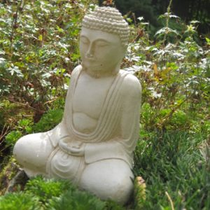 Small Buddha Garden Stone Statue Pale