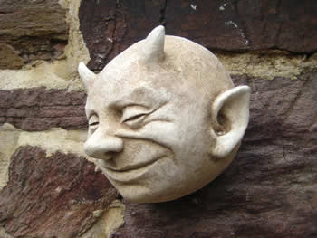 Small Devil Wall Gargoyle Pale