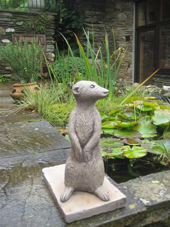 Left Meerkat Garden Statue Dark