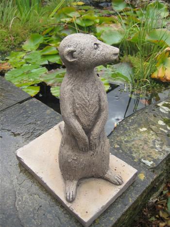 Left Meerkats Garden Statue Dark