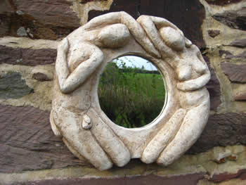 Round Lovers Unusual Mirror Pale