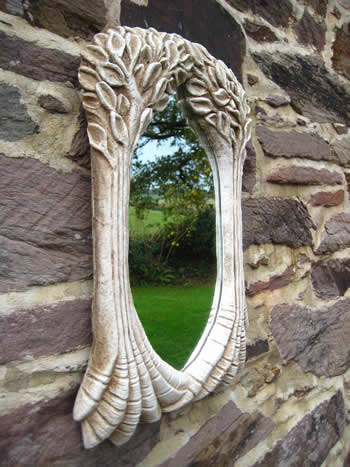 Tree Natural Sculpture Mirror Pale