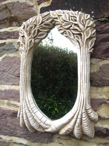 Tree Sculpture Mirror Pale