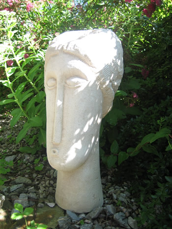 Large Modigliani Statue In Garden Pale