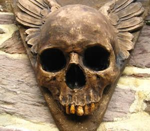 Winged Wall Hanging Skull Dark
